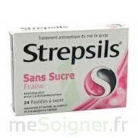 STREPSILS FRAISE SANS SUCRE, pastille édulcorée à l'isomalt, au maltitol et à la saccharine sodique à Pau